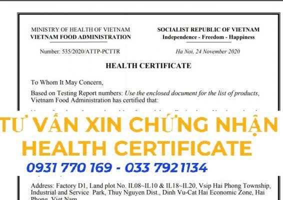 Giấy chứng nhận Health Certificate xuất khẩu trái cây đông lạnh