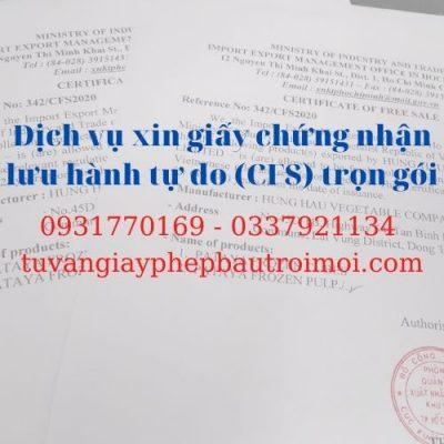 Giấy phép lưu hành tự do xuất khẩu (Certificate of free sale – CFS)