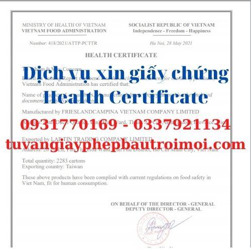 Health Certificate (HC) tinh bột sắn