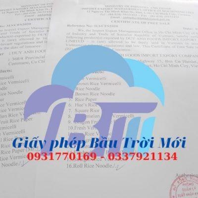 Dịch vụ làm Certificate of Free Sale (CFS) nhanh nhất